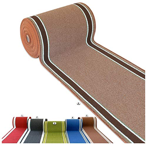 Alfombra de cocina multiusos de color liso. Tamaño por metro, 67 cm de ancho. Tejido plano bordado...