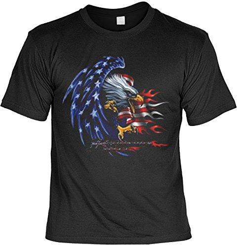 T-Shirt - Adler und Flagge - USA Shirt mit Motiv als Geschenk für Amerika Fans