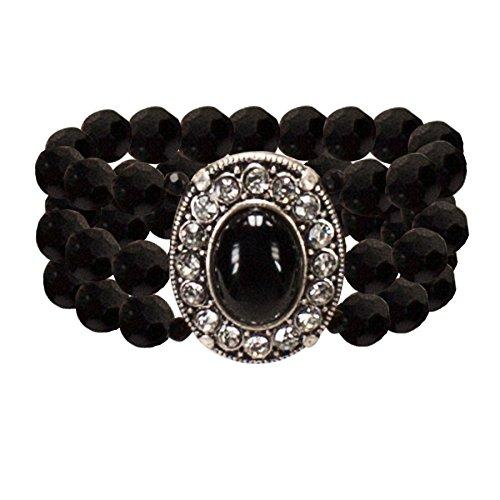 Alpenflüstern Perlen-Trachten-Armband Sissi - Damen-Trachtenschmuck, elastische Trachten-Armkette, Perlenarmband mehrreihig schwarz ()