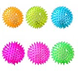 #7: W9 LED Light-UP Spike Squeaky Ball For Puppy-Small (SET OF 6)
