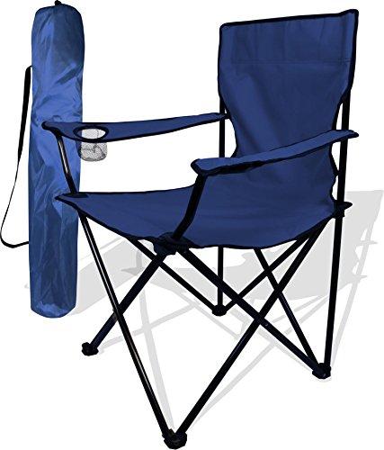 Anglersessel, Campingstuhl - klappbar mit Getränkehalter und Tragetasche Farbe Marine (Marine-camping-stuhl)