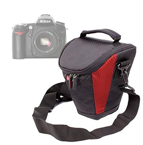 Etui housse de rangement DURAGADGET noir / rouge pour Nikon Coolpix P610 et L840, Canon PowerShot SX410 IS et Pentax XG-1 appareils photo Bridge et leurs accessoires - lanière de transport