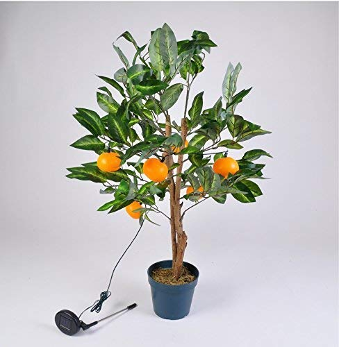 TOPtVERSAND LED Solar Mandarinen-Baum 90cm Orangen Bäumchen Obstbaum Kunstpflanze Gartendeko