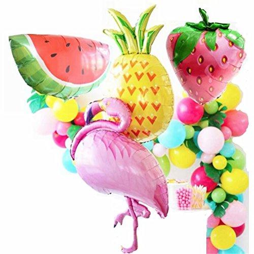 baifeng 24Flamingo Folie Ballons Hawaiian Tropical Party Supplies Fruit Form Sommer Party Geburtstag Aluminium Folie Ballons, mixed-color Latex Luftballons für Hochzeit Hochzeit, Baby Dusche Party Supplies