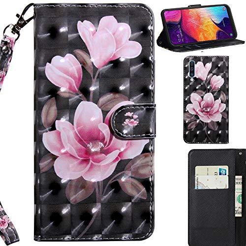 DodoBuy 3D Hülle für Samsung Galaxy A50, Flip PU Leder Schutzhülle Handy Tasche Brieftasche Wallet Case Cover Ständer mit Kartenfächer Trageschlaufe Magnetverschluss - Pink Blume Wallet Case Cover