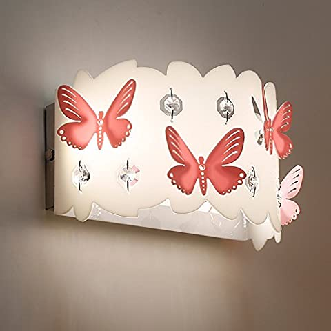zqfwz enfants LED 6W Papillon Mur Lumières Roman Table Acrylique Chambre de Petite Fille Applique murale inoxydable Base Lampe murale avec perles de cristal pour Chambre de Petite Fille Enfant Chambre à Coucher Salon de jardin (lumière chaude)