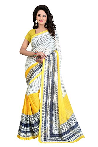 J B Fashion Women's Georgette Sarees With Blouse Piece (Yellow-Cream)