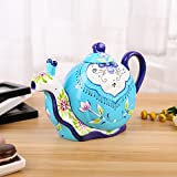 Artvigor Porzellan Kaffeekanne 1,2 Liter, Handbemalt Teekanne, Schnecke Design, Geschenkverpackung