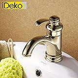 iDeko® Robinet Mitigeur lavabo robinet salle de bain en laiton Classique avec Flexible x 2 doré