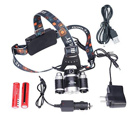 4modalità proiettore, casco torcia per campeggio, corsa, escursionismo e lettura, batterie auto caricabatterie da parete caricabatterie e cavo USB inclusi