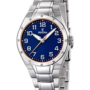 Festina Sport F16485/B - Reloj analógico de cuarzo para mujer, correa de acero inoxidable color plateado (agujas luminiscentes) de Festina