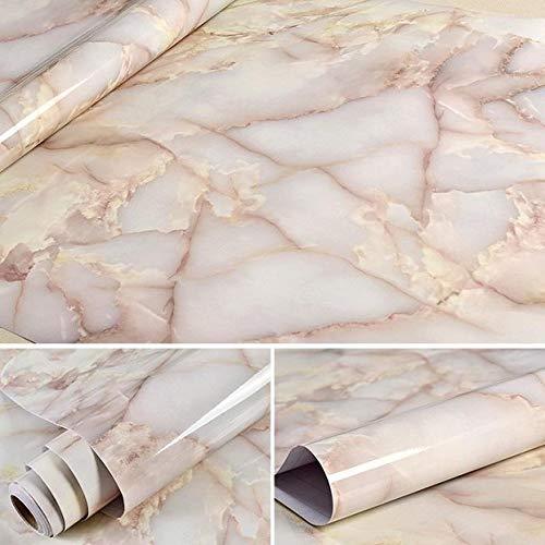 lsaiyy 3 mt / 5 mt / 10mt wasserdichte Vinyl Selbstklebende Tapete Marmor Kontakt Papier Küchenschrank Regal Schublade Liner Wandaufkleber Hellgelb 60 cm X 10 mt