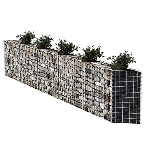 Gabionen Hochbeet aus Stahl Steinkorb-Pflanzkübel 300×30×100 cm für Stützmauern Gartenzaun Gabionenwand Mauer Säule verzinkt