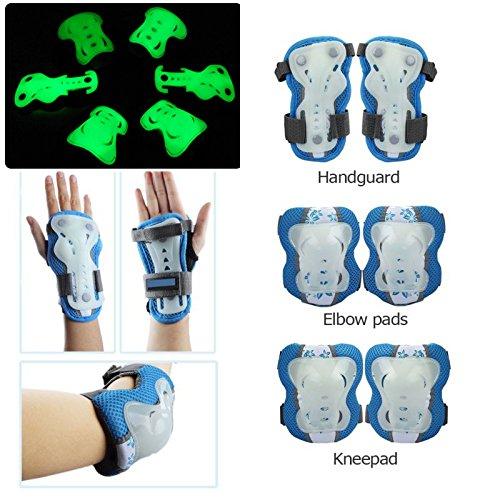 Schutzkleidung für Kinder, 6 Stück für Ellbogen, Knie und Handgelenk, leuchtet im Dunkeln, für BMX/Skateboard/Roller 2-12 Jahre, unisex, blau