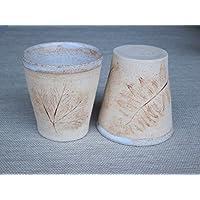 Lot de 2 mugs assortis en grès avec empreintes de feuilles et plantes