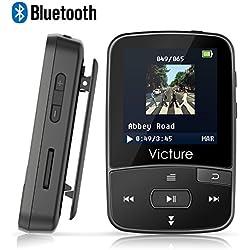 Victure Reproductor MP3 Bluetooth 4.0 con Clip Reproductor de Música para el Deporte Pantalla TFT de 1.5 pulgadas, FM Radio, Podometro, Auriculares, Soporte SD USB TF hasta 64 GB Tarjeta