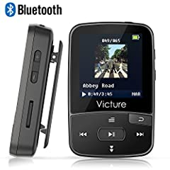 Idea Regalo - Victure Lettore MP3 Bluetooth con Clip 8GB MP3 Player con Radio FM, MP3 Player per Sport e Corsa, sostegno SD USB TF Fino alla Carta di 64GB