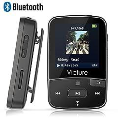 Idea Regalo - Victure Lettore MP3 Bluetooth con Clip 8GB MP3 Player con Radio FM, MP3 Player per Sport e Corsa, sostegno SD USB TF Fino alla Carta di 64GB
