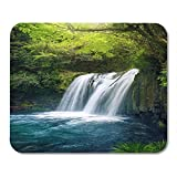 Mouse Pads Beautiful Green Japan Japanese Waterfall in Deep Forest Sightseeing Spot Shizuoka Prefecture Asia Clear Mouse Pad for Notebooks,Desktop Computers Office Supplies