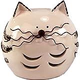 Katze Gartenfigur Gartendekoration Keramik Metall mit LED Beleuchtung Solarbetrieben 13x17x17 • Geschenkidee · Dekoration für Garten, Balkon oder Terasse