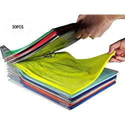 Organisateur d'armoires,Vêtements Système d'organisation Organiseur de placards et Chemise fichier Taille standard (30 Pack)