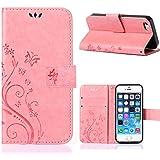 MOONCASE iPhone SE Bookstyle Étui Fleur Housse en Cuir Case à rabat pour iPhone SE / 5S/ 5 Coque de protection Portefeuille TPU Case -Rose