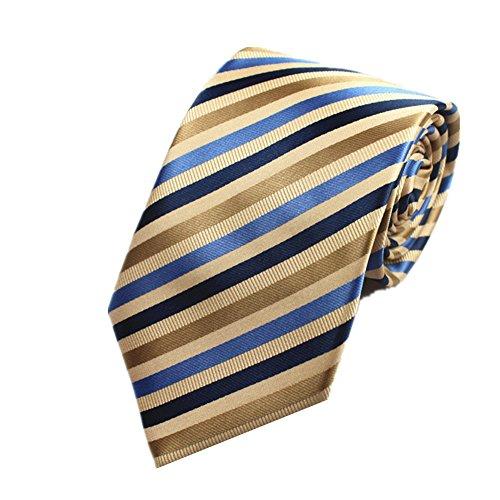 Tan Stripe Shirt (Z-P Mens Brown Stripe Luxury Elegant Necktie Knit Woven Jacquard Skinny Tie)