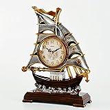 Unbekannt Tischuhr Mantel Uhren Wohnzimmer Schlafzimmer Retro Harz Quarzuhr Desktop-Dekoration 31,5 X 11,5 X 42 cm -Max Home (Farbe : Antique Silver)