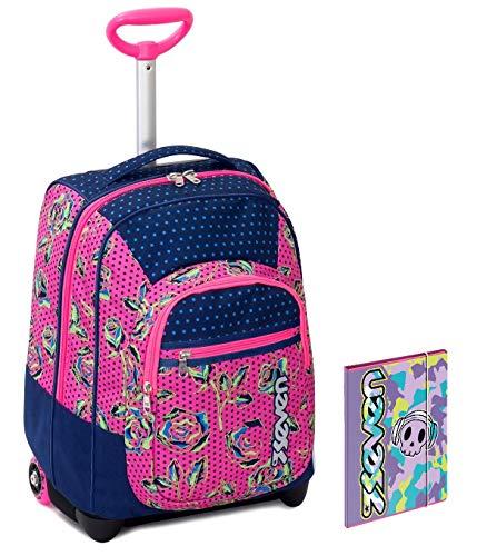 Trolley bambina seven + cartellina a4 - rosa blu - spallacci a scomparsa! zaino 35 lt scuola e viaggio - idea regalo natale
