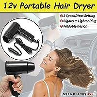 Secador de pelo para coche, 12 V, plegable, ideal para viajes y campamentos, para el interior del coche, para el parabrisas, helado, negro