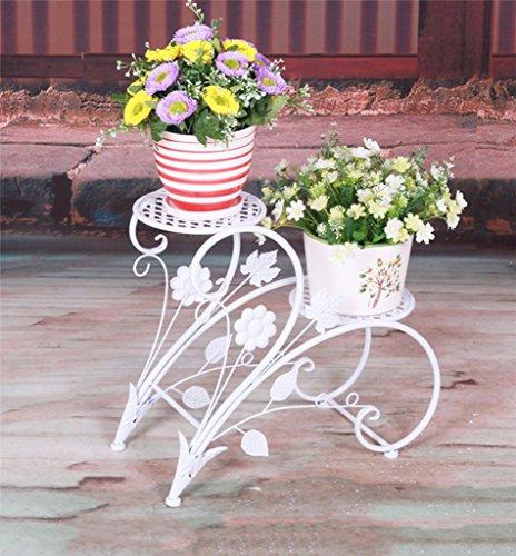 JAZS® Porte-fleurs en fer, style européen rural Double couche Style de sol Porte-pot à fleurs salon intérieur balcon Porte-plaques 45 × 20 × 42cm protection de l'environnement raffinée ( Couleur : Blanc )