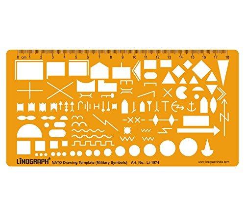 Nato-Armee taktische Militärkarte Markierungssymbole Zeichnung Drafting Schablonen-Schablone Template (Taktische Links)