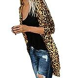 Lucky Mall Frauen Langarm Leopardenmuster Mantel Mode Bllouse, Leopard Langer Langärmeliger Mantel