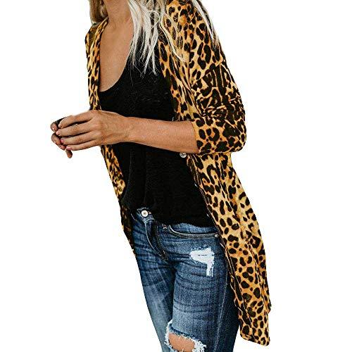 SuperSU Womens Casual Kunstfellmantel mit Leopard gedruckt Batwing Ärmel Lässig Lose Bluse Damen Open Cape Ärmel Kimono Chiffon Oberteil Cover Up Cardigan Tops Strickjacke Weicher Winter Mantel