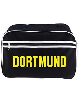 Retrotasche Schriftzug Dortmund schwarz
