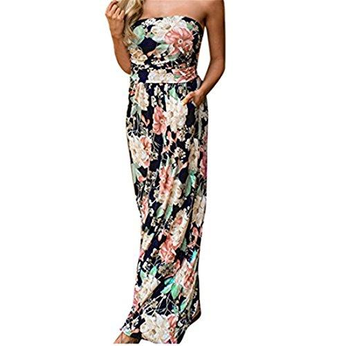 Sannysis Damen Bandeau Urlaub Langes Kleid Damen Sommer Blumen Maxi Kleid (Farbe, S)