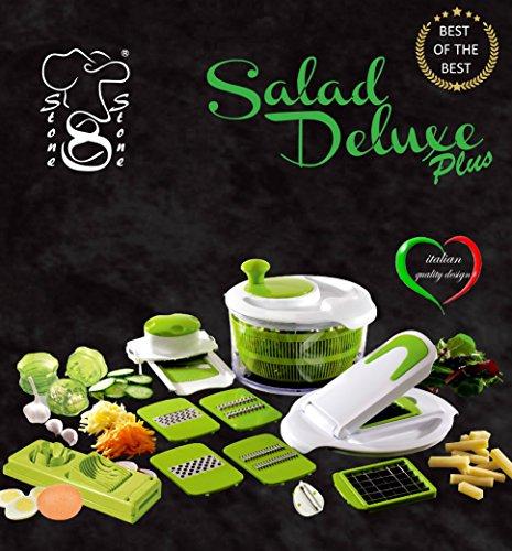 Salad Delux Plus Insalatiera Taglia Verdure visto in Tv Affettatutto / Centrifuga insalata Robot da cucina + Trita Aglio + TagliaUovo + Pela Patate made by stone&stone