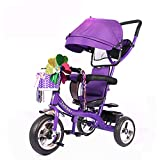 SSLC Bicicleta Triciclo Infantil,Trike Bike 4 EN 1 Triciclo para Niños +18 Meses Pedales con Capota Extraíble Plegable Barra Telescópica para Padres Triciclo de Empuje, Purple