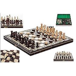 UNIDO DAMAS - 35cm/14 de a mano juego de ajedrez de madera con damas
