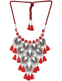 Mali Fionna Fancy Designer Oxidised Silver-Toned & Red Tasselled Necklace/Mala For Girl's/Women's