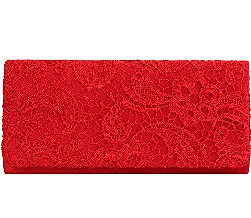 Kisschic Damen Elegant Spitze Abendtasche Party Clutches Taschen Braut Hochzeit Handtaschen Damen Rot