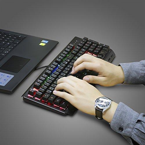Mechanische tastatur, MECO Gaming Tastatur Key-Click Tasten, RGB, Ergonomischen Design, QWERTZ-Layout, 100% Wasserdicht, 105 Tasten Anti-Ghosting, Macro Recorder Mechaniche Tastatur - 6