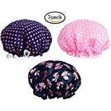 PrettyDate 3 Packs Double layer Shower Cap Waterproof Elastic Bath Cap for Women Shower Spa Salon