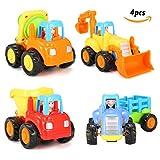 FUNTOK Giocattoli per auto Push and Go Kit di attrito a frizione di 4 Trattore per auto Bulldozer Cement Mixer per bambini Bambini
