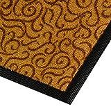 Design Schmutzfangmatte | mit Schnörkelmuster | für Eingangsbereich | Fußmatte in vielen Größen und Farben | messing 90x150 cm