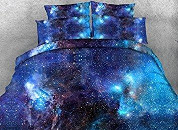ammybeddings Charming, Blau Galaxy Print 3D Bettwäsche Sets Blau, Fadenzahl 800, Bettwäsche-Sets, 4-teiliges Baumwolle Bettbezug Sets Blau, blau, Queen-4PCS (Bettwäsche Tröster-sets Queen)