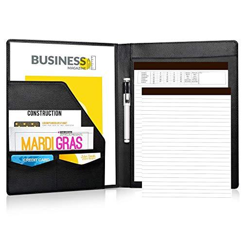 Portfolio/Schreibmappen - Lemome Executive Leder Padfolio mit Dokumentenmappe & Folio Organizer für Brief & A4 Schreibblock mit Visitenkartenhalter, Mappen Professionelles Geschenk für Männer -