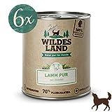 Wildes Land | Nassfutter für Hunde | Lamm PUR | 6 x 800 g | mit Distelöl | Getreidefrei & Hypoallergen | Extra hoher Fleischanteil von 70% Akzeptanz und Verträglichkeit
