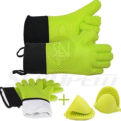Hitzebeständig Ofen Handschuhe + Bonus Topflappen/Mini Pad Set von 2mit