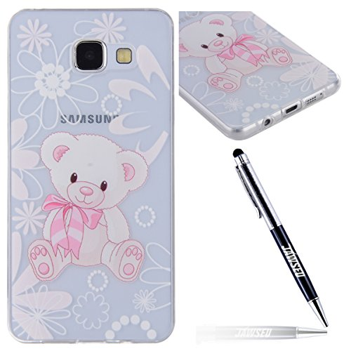 JAWSEU Coque Etui pour Samsung Galaxy A5 2016,Samsung Galaxy A5 2016 Coque en Silicone Transparent,Samsung Galaxy A5 2016 Silicone Coque Cristal Clair Etui Housse,Samsung Galaxy A5 2016 Soft Case Gel  Lovely Ours